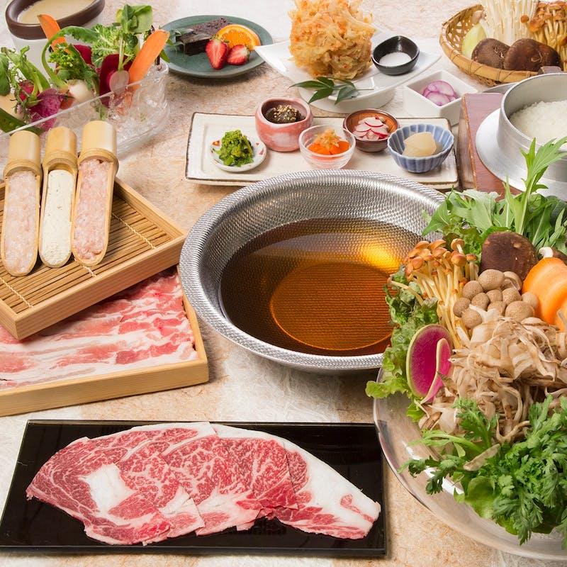 【平日限定】食べ放題プラン+2時間飲み放題(お野菜しゃぶしゃぶと3種類の豚肉と牛肉)