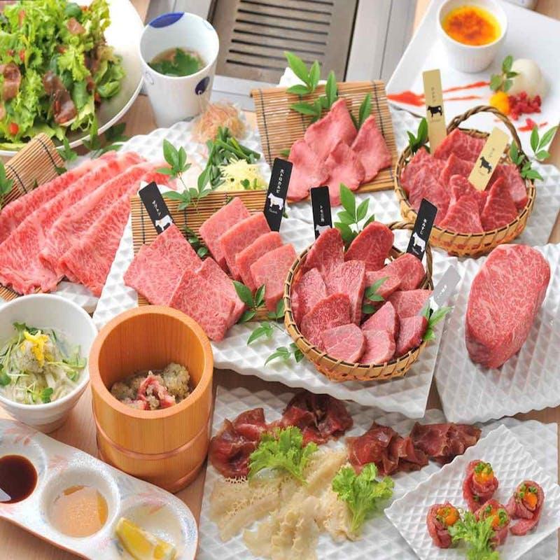 【厳選赤身部位2種盛コース】薄切りサーロイン焼すき・特製冷麺など全14品