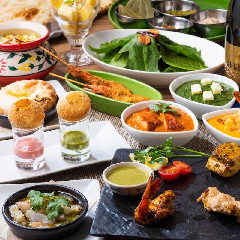 【インド料理堪能コース】車海老の窯焼、カレー2種など全11品+2.5時間飲み放題