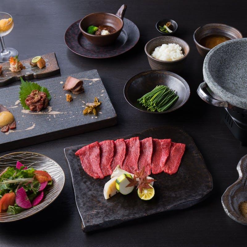 【特選】肉前菜3種、ビーフシチュー、石焼神戸ビーフ120g、焼野菜など全7品(個室確約・リクエスト予約)