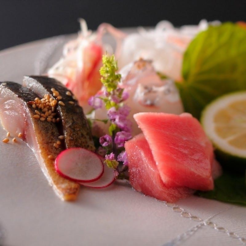 【さくらコース】前菜、造り、鍋物など全7品+京都の地酒6種飲み比べセット