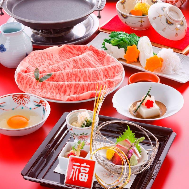 【旬彩すき焼コース】季節の一品、すき焼きなど全6品(上)