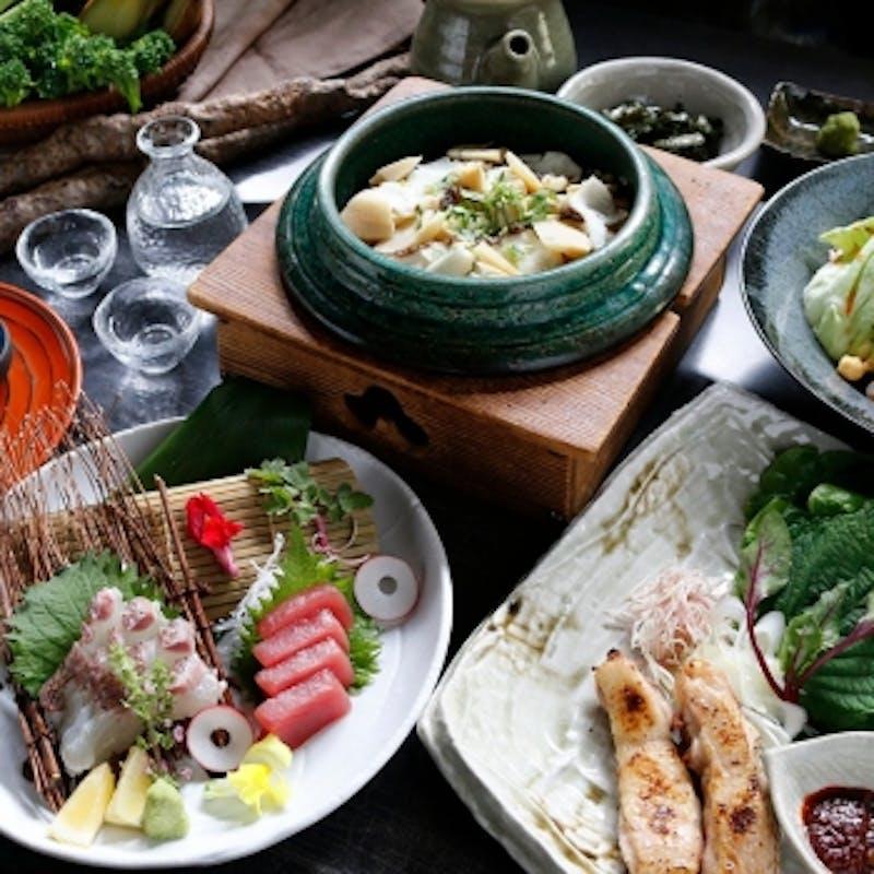 【琴の緒】自然薯の前菜3種盛り、黒十自慢むかご釜飯など全7品+日本酒飲み比べ3種
