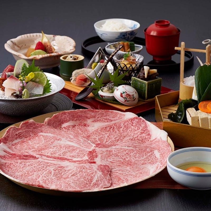 【松阪牛すき焼 又はしゃぶしゃぶ】+前菜、お造り、牛たん炭火焼付きコース(個室確約・リクエスト予約)