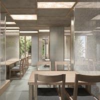銀箔と白木で統一されたスタイリッシュで洗練された空間