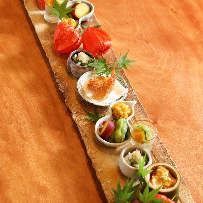 【昼のおまかせ】先付、造里、焼物など全8品(リクエスト予約)