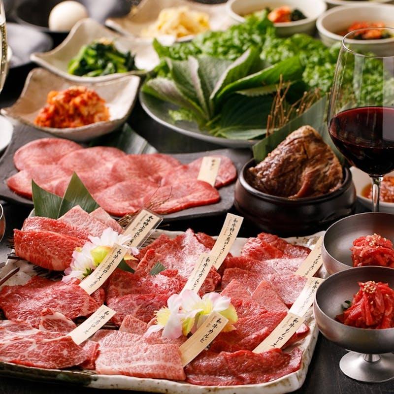 【カジュアル会席】焼肉5種盛り、チヂミなど全7品+1ドリンク