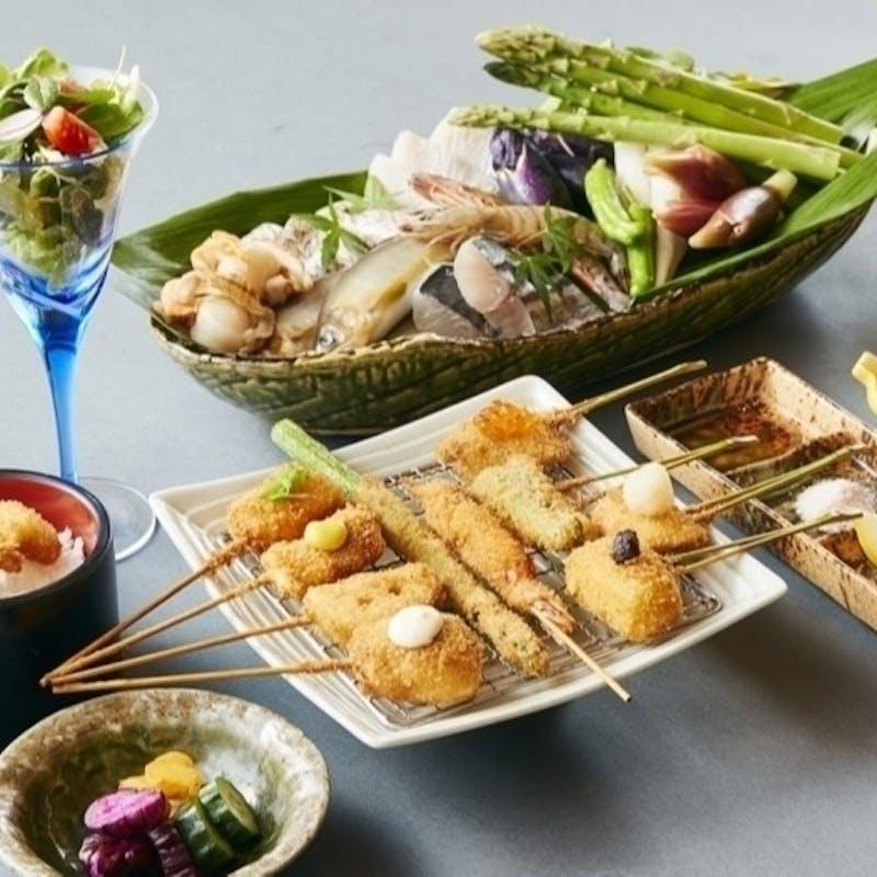 【串揚げコース】串揚げ12種や前菜、お造りなど全10品