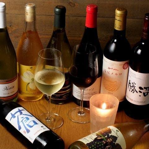 国産ワインや日本酒を豊富に品揃え