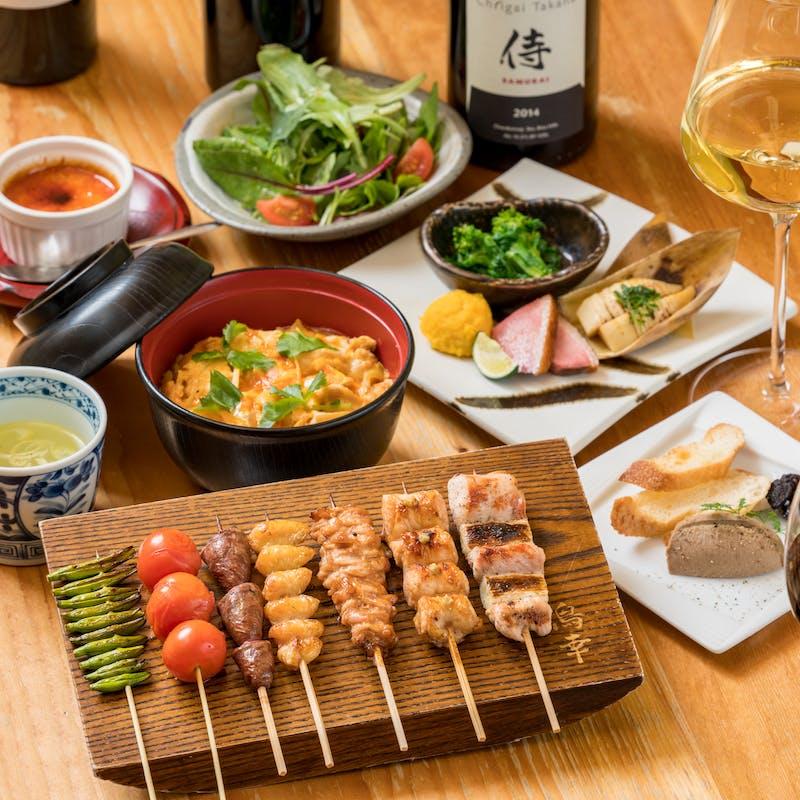 【竹コース】肉串5本や親子丼など全6品