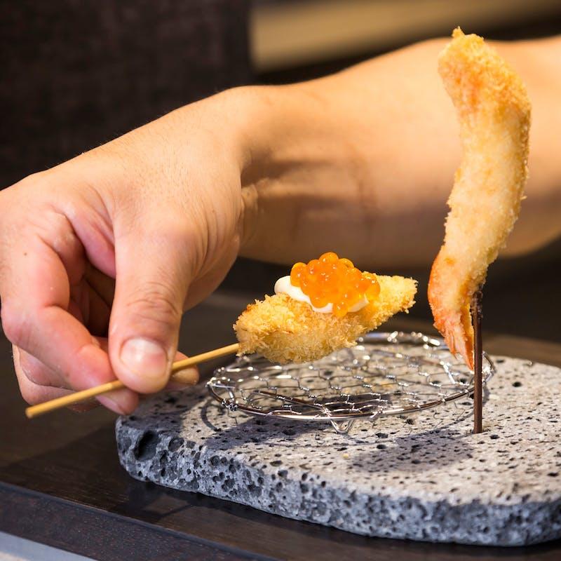 【ショートコース】串揚げ8本・前菜・炊き込みご飯等全6品