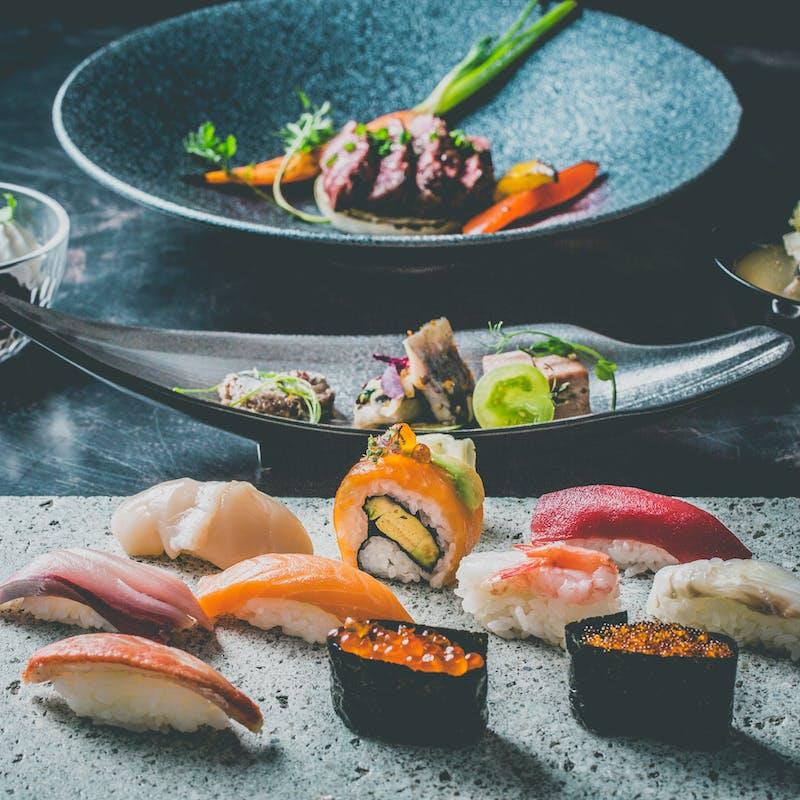 【蝦夷前コース】寿司10貫、道産牛ヒレ肉や石狩汁など全5品+1ドリンク
