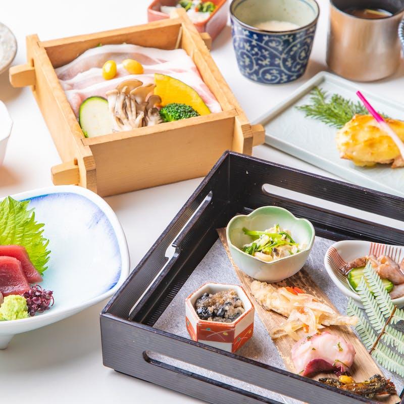 【茨城県産美明豚のせいろ会席】造里、焼物など全8品+2時間飲み放題