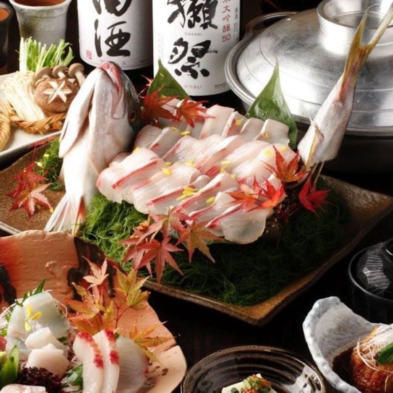 【三日月コース】お造り・旬の焼物・三元豚角煮込み等全8品+2時間飲み放題