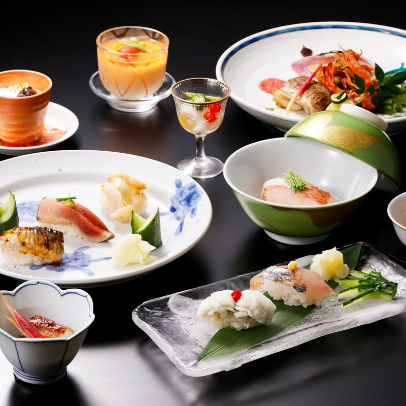 【季節の寿司会席】のど黒蒸し寿司入り!和食もお寿司も楽しめる季節の会席全7品