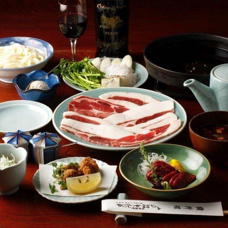 【野獣肉コース】猪鍋、鹿のお刺身、鹿竜田揚げ、熊汁など全6品