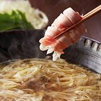 ヘルシーで人気の「葱たっぷりの包み沖縄豚しゃぶ」