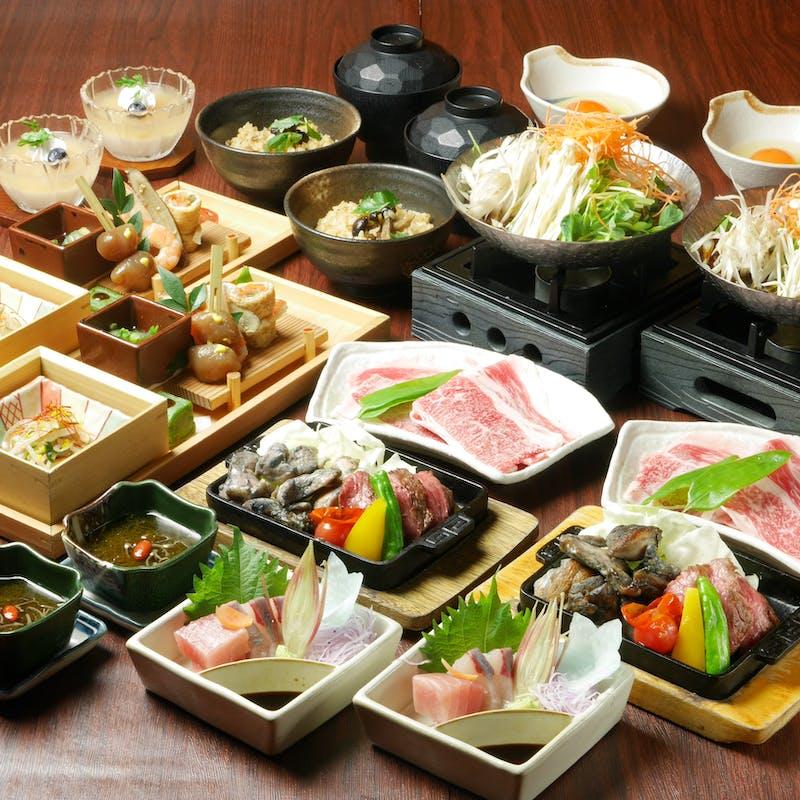 【桐コース】宮崎牛のすき焼き仕立てや季節の炊き込みご飯など全8品+選べる1ドリンク