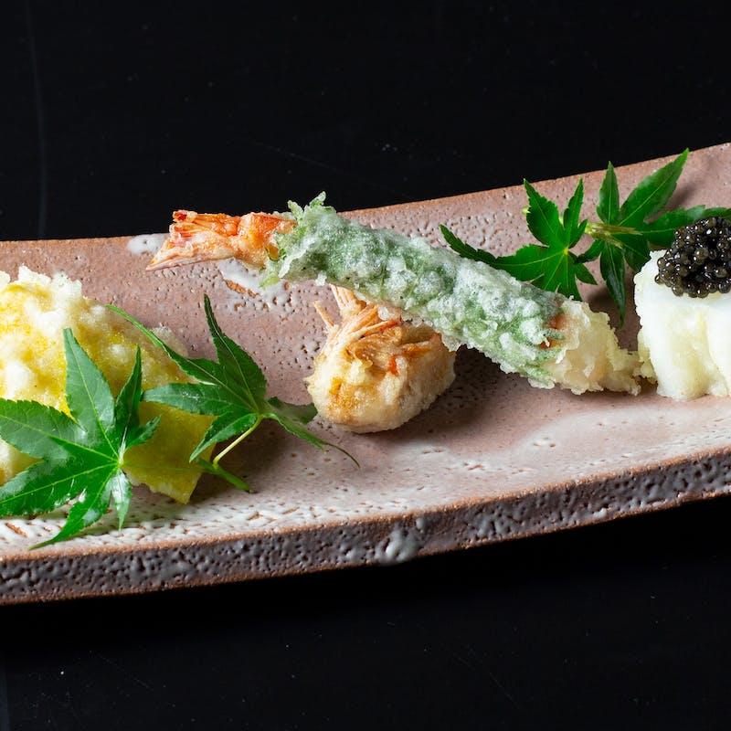 【水芭蕉】天婦羅11種類と造り、食事を含む贅沢な6品とデザート付