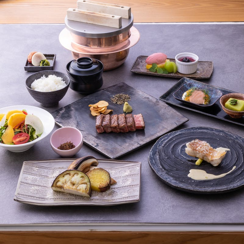 【蒼天】甘鯛鱗焼き、国産牛フィレ、デザートなど全7品(10%割引)