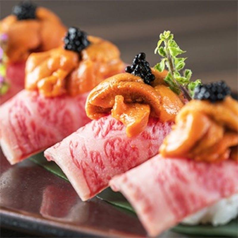 ランチ 神戸牛 最高ランクA5黒毛和牛の肉寿司食べ比べ