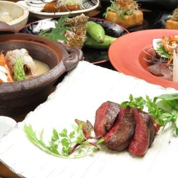 【宴会コース】国産黒毛和牛、旬の魚&野菜、手打ち蕎麦など大満足の全8品+日本酒全種含む3時間飲み放題