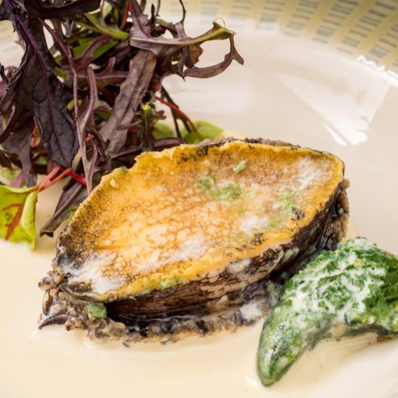 【鉄板フルコース 全7品】フォアグラのお料理、アワビの海藻蒸し焼き、阿波黒毛和牛ステーキなど