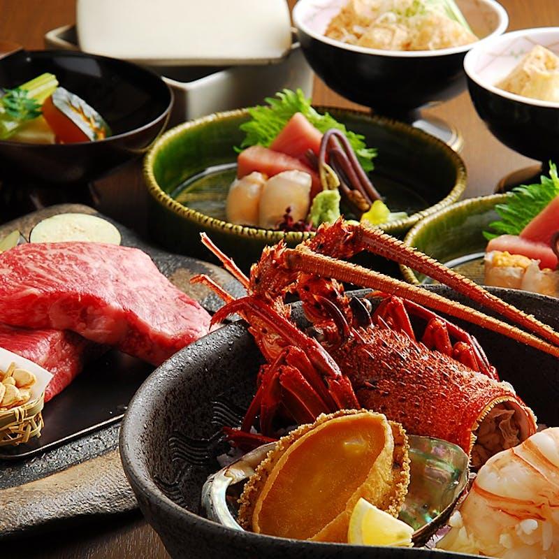 【特別会席 極上】黒毛和牛、鮑・伊勢海老1匹、中トロ入刺身盛など全8品+2種の季節の日本酒