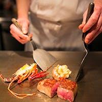 【鉄板会席】豪華な厳選食材や季節野菜を鉄板焼きでおもてなし