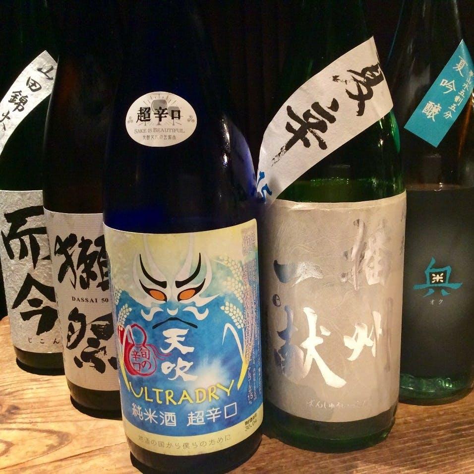 鉄板焼きや和食と相性抜群のお酒や、季節限定の日本酒をご用意