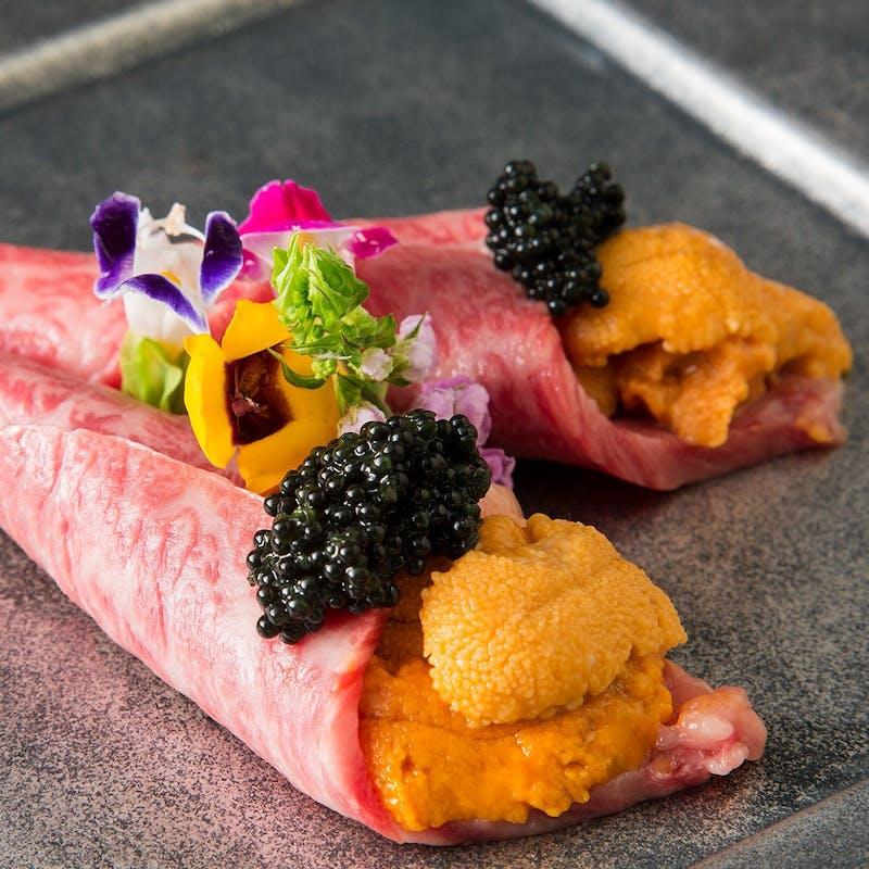 【松阪牛コース<極み>】松阪牛雲丹巻き、シャトーブリアン、霜降り肉、松阪牛炊き込みご飯など