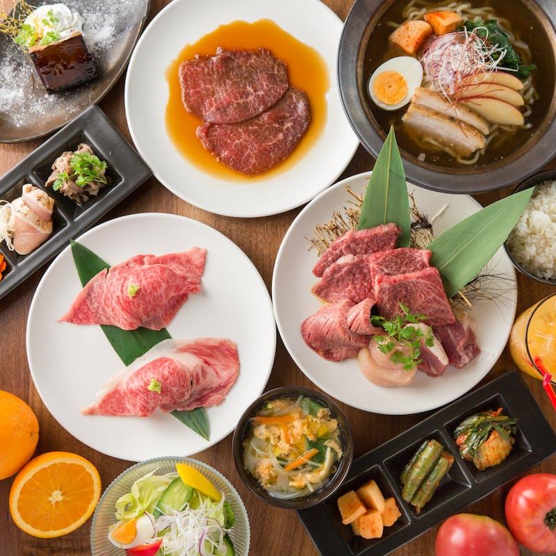 【ランチコース】あぶり寿司2種・お肉4点盛り合わせ等全9品+ソフトドリンク飲み放題(1組限定)