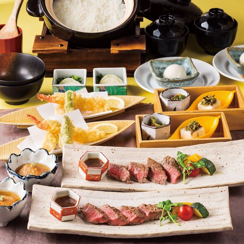 【雅ーMIYABIー】炭火焼牛ステーキと自家精米炊きたて白土鍋ご飯