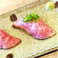 新鮮ならではの味わい「黒毛和牛の炙り寿司」