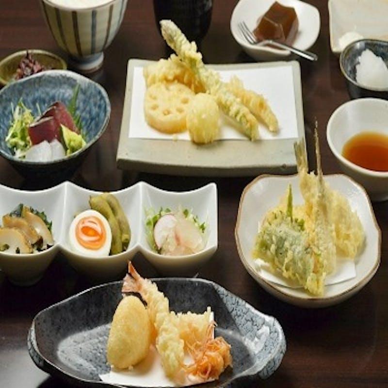 【上天ぷらコース】前菜、お造り、天ぷら10種など全7品+1ドリンク