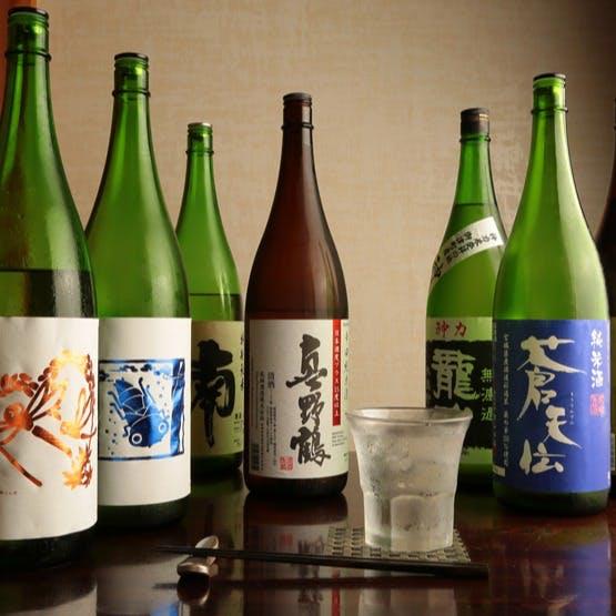 御食事を引き立てる日本酒の数々