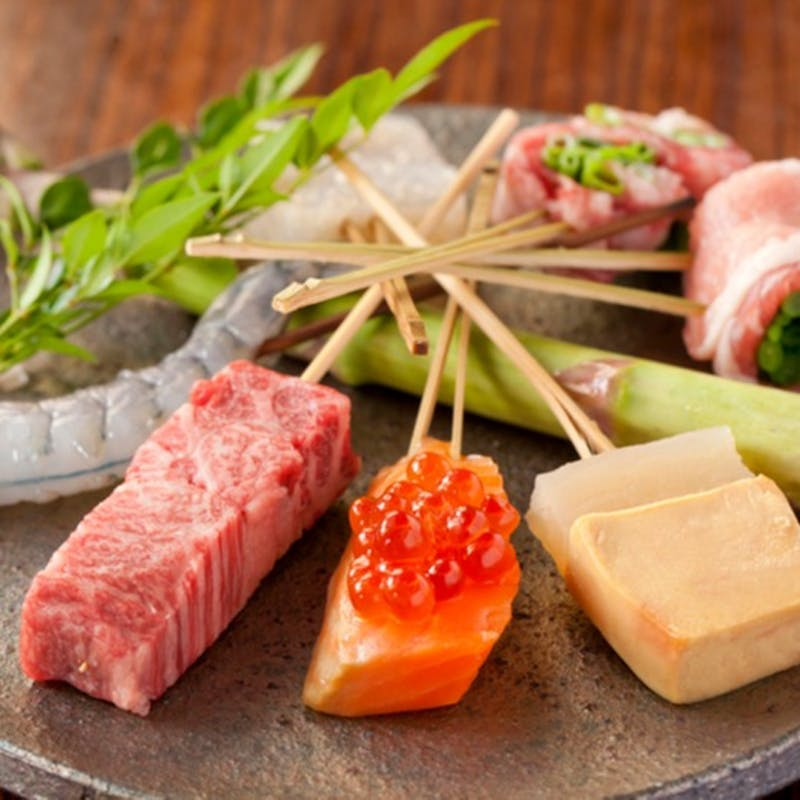 【贅沢串揚げランチコース】料理長お薦め串8種、ちりめんご飯など