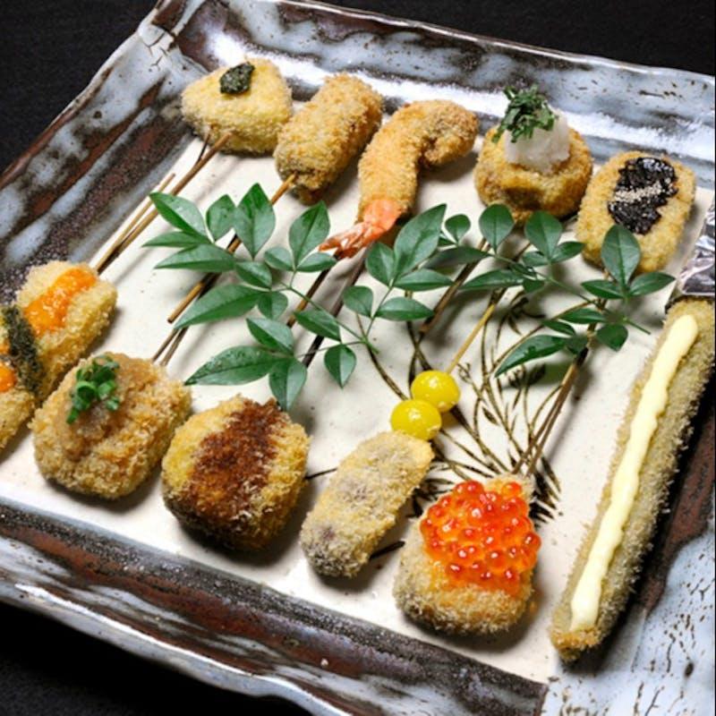 【おきまり弐】季節の串揚げ4本含む10本楽しめる。食事やデザートなど