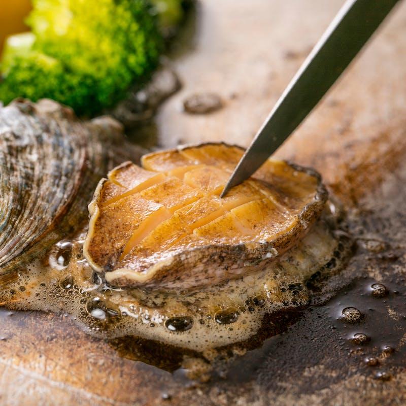 【あわびコース】鮑やズワイ蟹、国産牛サーロイン含む豪華全7品+1ドリンク