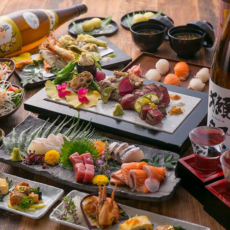 【雅コース】車海老の天ぷら、A5ランク五島牛ステーキなど全7品+2時間飲み放題(個室確約/個別提供)