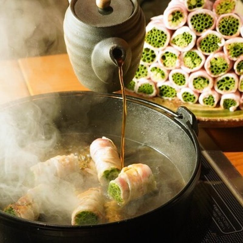【ネギ巻きすき焼きコース】前菜3種、イブ美豚の串カツ3種や極上すき焼きなど