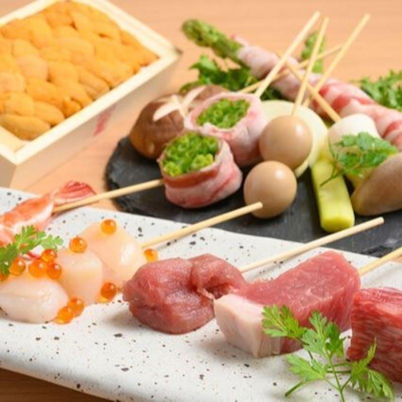 【イブ美豚極上串カツコース】前菜3種、串カツ15本、イブ美豚の団子汁など