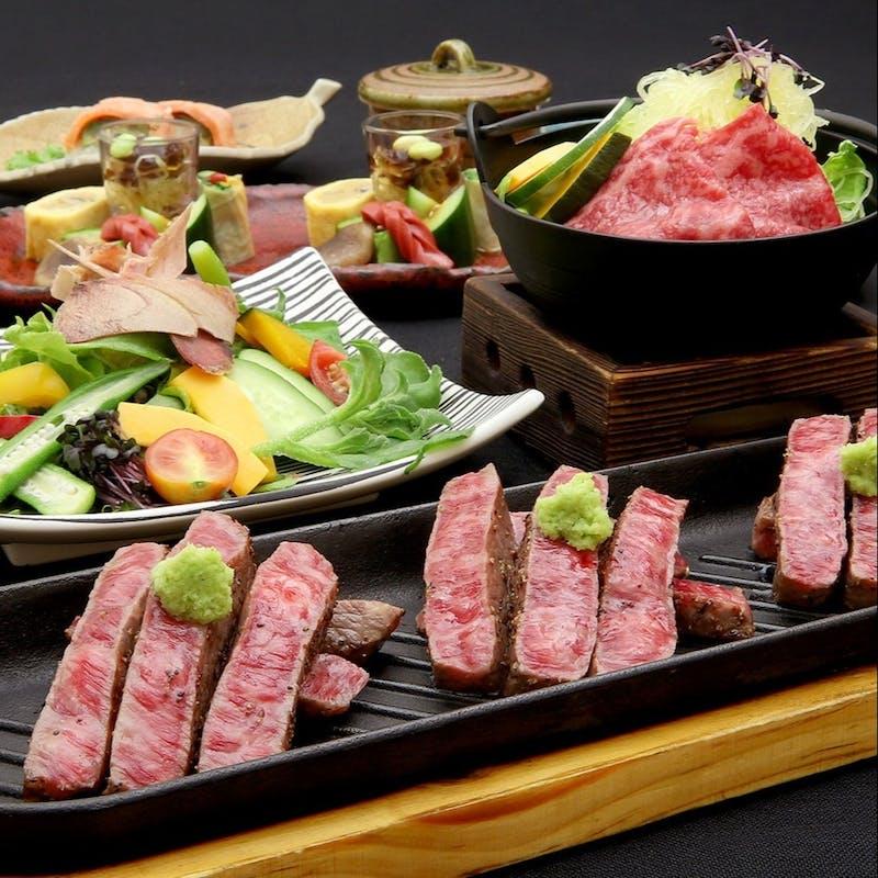 【近江牛赤身肉ステーキの肉割烹コース】前菜、牛刺、牛鍋など全10品+70種飲み放題(2名~個室可)