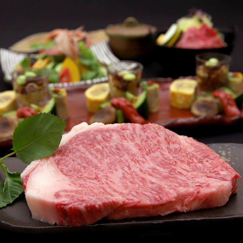 【極上サーロイン&極上ヒレステーキの肉割烹コース】前菜、牛刺など全10品+70種飲み放題(2名~個室可)