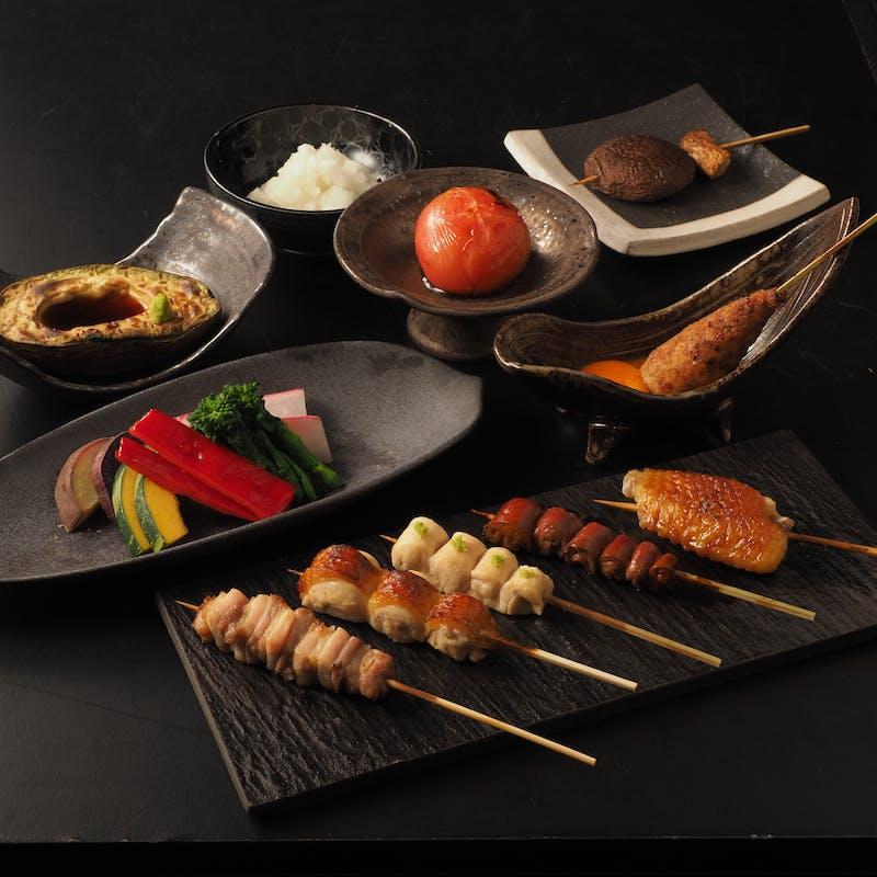 【スタンダードコース】比内地鶏焼鳥串6本など 全11品※コースのお料理はすべて個別盛で提供いたします。