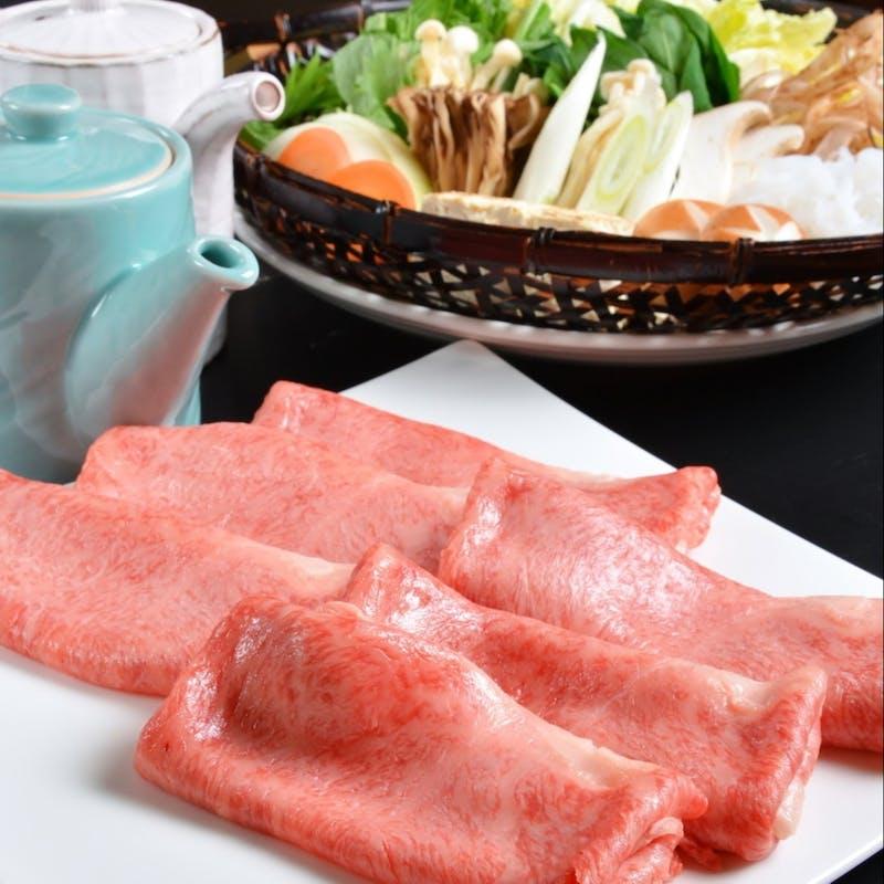 【A5黒毛和牛すき焼きコース】サーロイン、デザート等(個室確約)