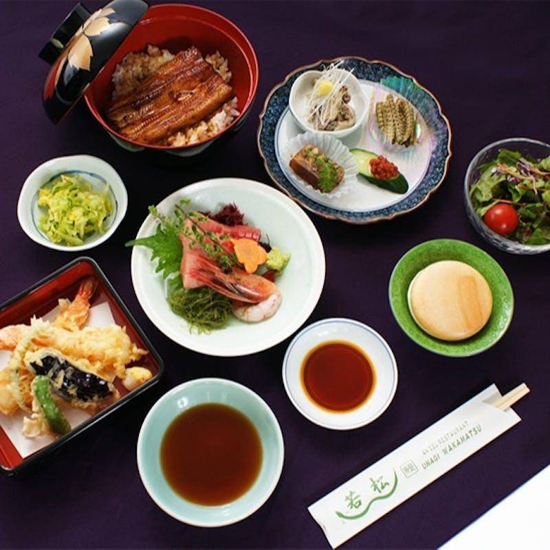 【だるまコース】うな丼(うなぎ半身)または 豚ロースの生姜焼丼など全6品(2名~)