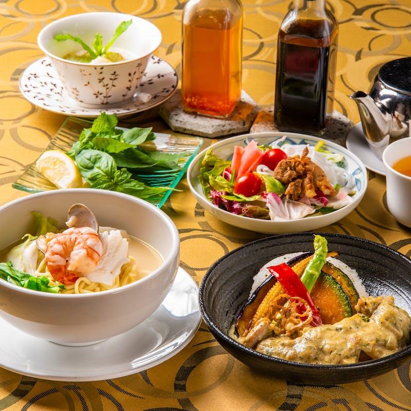 【風華セット】選べるハーフ&ハーフ、中国茶等3品4種+1ドリンク
