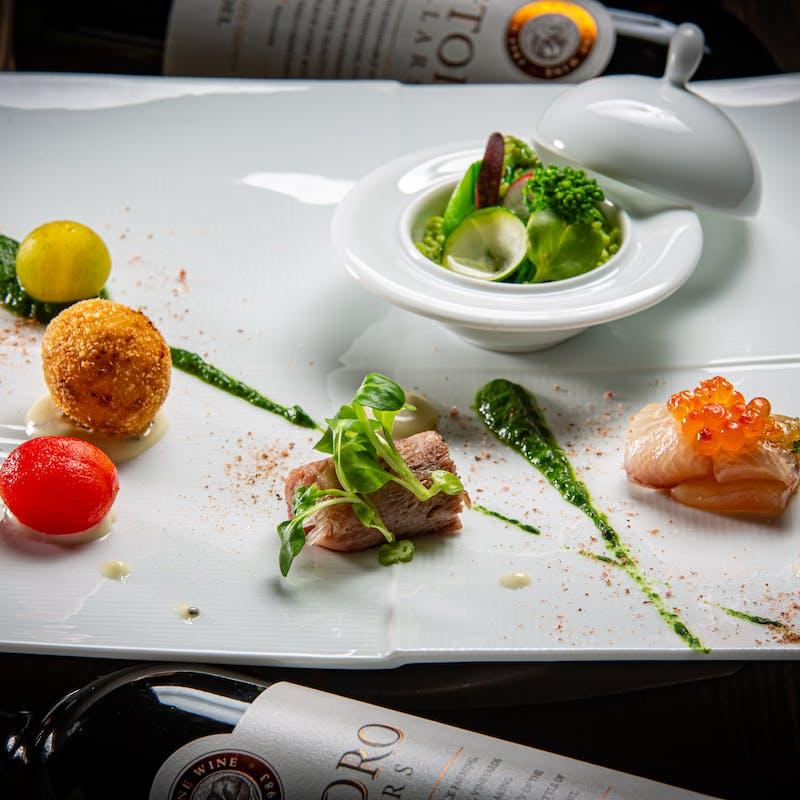 【玻璃~HARI~】有機野菜の鉄板焼や一品料理など動物性食材不使用のコース10品+乾杯シャンパン