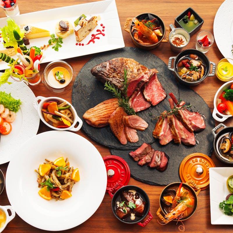 【週末ブッフェ】ライブキッチンで焼くお肉を堪能!+スパークリングワイン、ワインフリーフロー